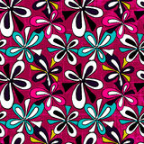 Graffiti abstract flowers on pink background seamless pattern vector illustration Royalty Free Stock Photo