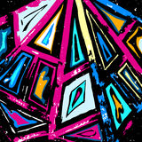 Graffiti abstract geometric pattern on a black background. (vector eps 10 stock illustration