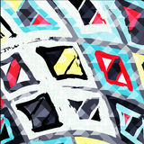 Graffiti abstract geometric pattern on a gray background Stock Images