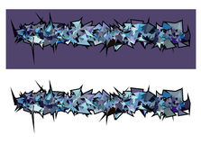 Graffiti abstract purple blue spiked shape pattern on white Royalty Free Stock Photography