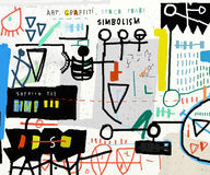 Graffiti. Abstraction is painted with different colors Stock Photo