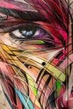 Graffiti abstrait d'oeil et de visage images libres de droits