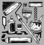 Graffiti accessories. Hand drawn graffiti accessories and materials Stock Photography