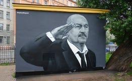 Graffiti, allenatore della squadra di football americano nazionale russa Immagine Stock Libera da Diritti