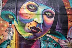 Graffiti alley artwork in cool neighborhood in Toronto Ontario Stock Image