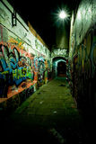 Graffiti Alley at Night. An alley in the city of Ghent, at night, Belgium where artists are free to create the most beautiful graffiti artwork. Every day one can royalty free stock photography