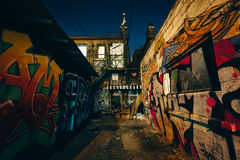 Graffiti Alley at night, in the Fashion District of Toronto, Ont Royalty Free Stock Images
