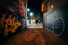 Graffiti Alley at night, in the Fashion District of Toronto, Ont Stock Images