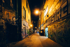 Graffiti Alley at night, in the Fashion District of Toronto, Ont. Ario Royalty Free Stock Photos