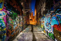 Graffiti Alley at night, in the Station North District, of Balti Stock Photos