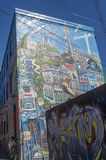 Toronto`s Graffiti Alley 51. Graffiti Alley,Toronto, Ontario Canada September 16, 2018: Graffiti Alley is located in the fashion district of Toronto and is a royalty free stock photo