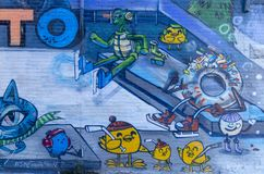 Toronto`s Graffiti Alley 49. Graffiti Alley,Toronto, Ontario Canada September 16, 2018: Graffiti Alley is located in the fashion district of Toronto and is a stock photo