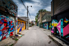 Graffiti in an alley in West Queen West, in Toronto, Ontario. Stock Images