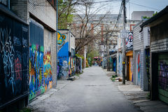 Graffiti in an alley in West Queen West, in Toronto, Ontario. Stock Photo