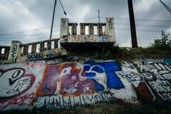 Graffiti along the Pasig River, in Makati, Metro Manila, The Phi Royalty Free Stock Images