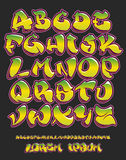Graffiti alphabet- Hand written - Vector font Royalty Free Stock Photos