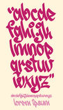 Graffiti alphabet - Handwritten - Vector lowercase font Royalty Free Stock Photography