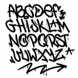 Graffiti alphabet. Set street type calligraphy design alphabet graffiti style tag letters write marker brush ink or aerosol paint spray. Free wildstyle for wall stock illustration