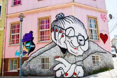 Graffiti alter Dame Stockfotos