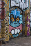 Graffiti of an angry monkey. Along the Regent`s Canal near Acton`s Lock, Hackney, London, England, United Kingdom Stock Photo