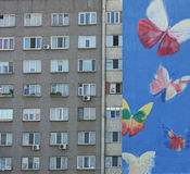 Graffiti on apartment building. Street art in Moldova. butterfly Stock Image
