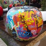 Graffiti apple. A massive apple garden feature from chelsea flower show Royalty Free Stock Photo