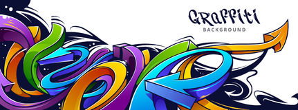 Graffiti Arrows Background. Horizontal background with abstract graffiti arrows. Vibrant colors 3D graffiti arrows on white background Royalty Free Stock Photo