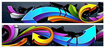 Graffiti Arrows Banners. Two horizontal banners with abstract graffiti arrows. Vibrant colors 3D graffiti arrows on dark grunge background Vector Illustration