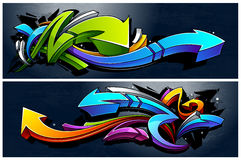 Graffiti Arrows Banners. Two horizontal banners with abstract graffiti arrows. Vibrant colors 3D graffiti arrows on dark grunge background Royalty Free Illustration