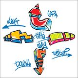 Graffiti Arrows. Bright Graffiti Arrows - left, right, up, down Stock Photography