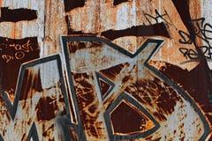 Graffiti arrugginiti Fotografia Stock