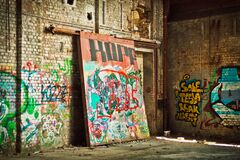 Graffiti Art on Concrete Block Walls Royalty Free Stock Images