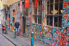 Urban Street Graffiti art. Hosier Lane, Melbourne, graffiti wall Stock Photo