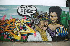 Graffiti art at Metropolitan Avenue in Brooklyn. Stock Images