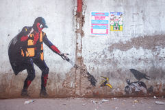 Graffiti art in Mumbai slum Royalty Free Stock Photography