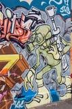 Graffiti art off Brunswick Street in Fitzroy, Melbourne. Colourful street art in a side street or laneway off iconic Brunswick Street in the fashionable inner Stock Photo
