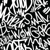 Graffiti Art Seamless Pattern. Vector tags seamless pattern. Fashion graffiti hand drawing texture, street art retro style, abstract, vintage design for t-shirt Royalty Free Stock Photos