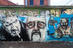 Graffiti art by an unknown artist of Mark Chopper Read in Collingwood. Mark Brandon Chopper Read was an Australian criminal and later author.  This street art Royalty Free Stock Images