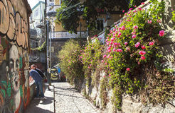 Graffiti art of Valparaíso city in Chile Stock Photos