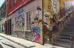 Graffiti art of Valparaíso city in Chile Stock Photo