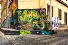 Valparaiso cityscape, Chile. Graffiti art of Valparaiso in Chile stock image