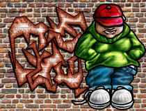 Graffiti art on wall. Illustration of graffiti art on an old brick wall Stock Photo