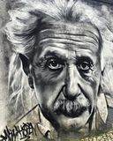 Graffiti. Art on the wall. Graffiti art work of Albert Einstein Stock Photo