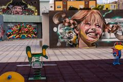 Graffiti art of on walls in a children park in Gran Canaria, Spain stock photo