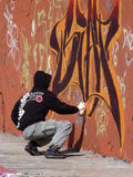 Graffiti Artist. At Work On Mural in Berlin Germany Stock Image