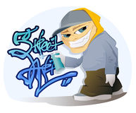 Graffiti Artist. The vector illustration of the Graffiti Artist With Spray Can Stock Image