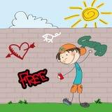 Graffiti artist teenager boy character spraying on the wall Stock Photo