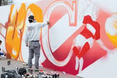 Graffiti artist works Royalty Free Stock Photography