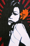 Graffiti Artwork of an Attractive Woman. BRISTOL - November 8: New stencil graffiti piece by 237 on a wall in the Stokes Croft area of the city on November 8 Royalty Free Stock Image