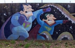 Graffiti artwork. Tossa de Mar, Catalonia, Spain. 12th May 2016. Street art graffiti on a wall stock photos